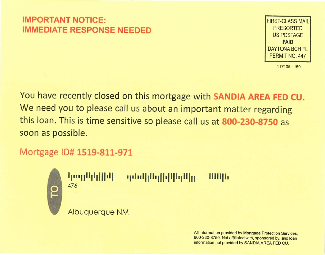 Image result for mortgage scam postcards