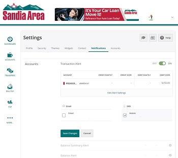 Screenshot of online banking settings page